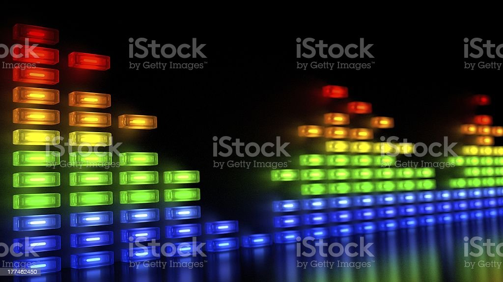 Music Sound Levels with Multi-Colors Block in Array Like Wall stock photo