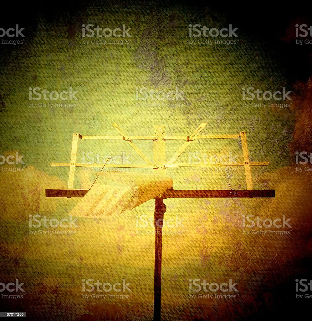 music stand and sheet music stock photo