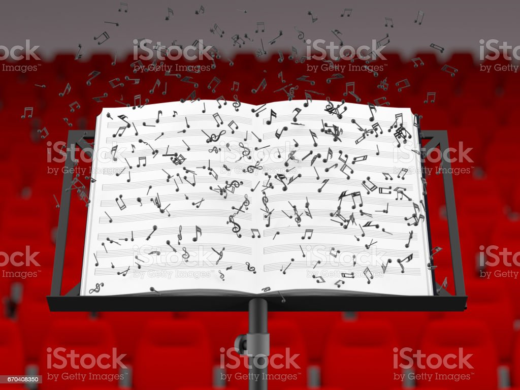 Music stand with melody sheets  and chairs in a  concert hall's interior stock photo