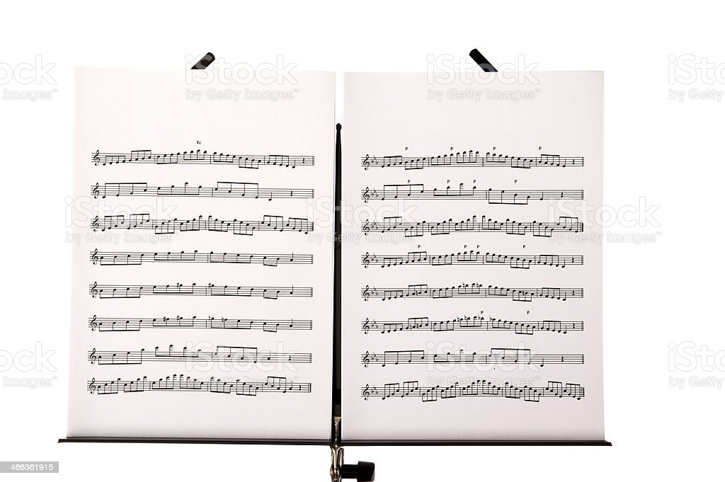 music stand with melody sheets stock photo