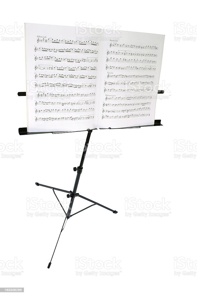 Music stand with sheet, isolated on white, path included stock photo