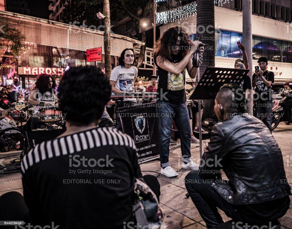 Music street band Bukit Bintang Kuala Lumpur Malaysia stock photo
