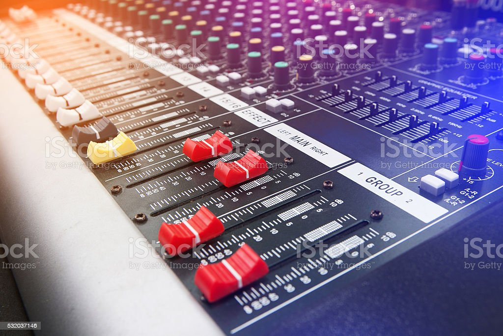 Music Studio & audio mixing console stock photo