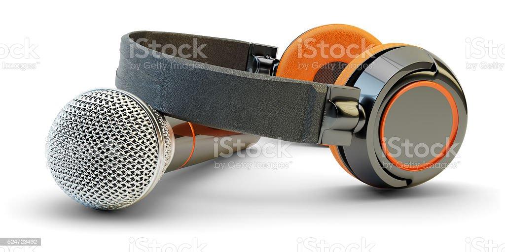 Music studio audio recording and live stream broadcasting concept stock photo