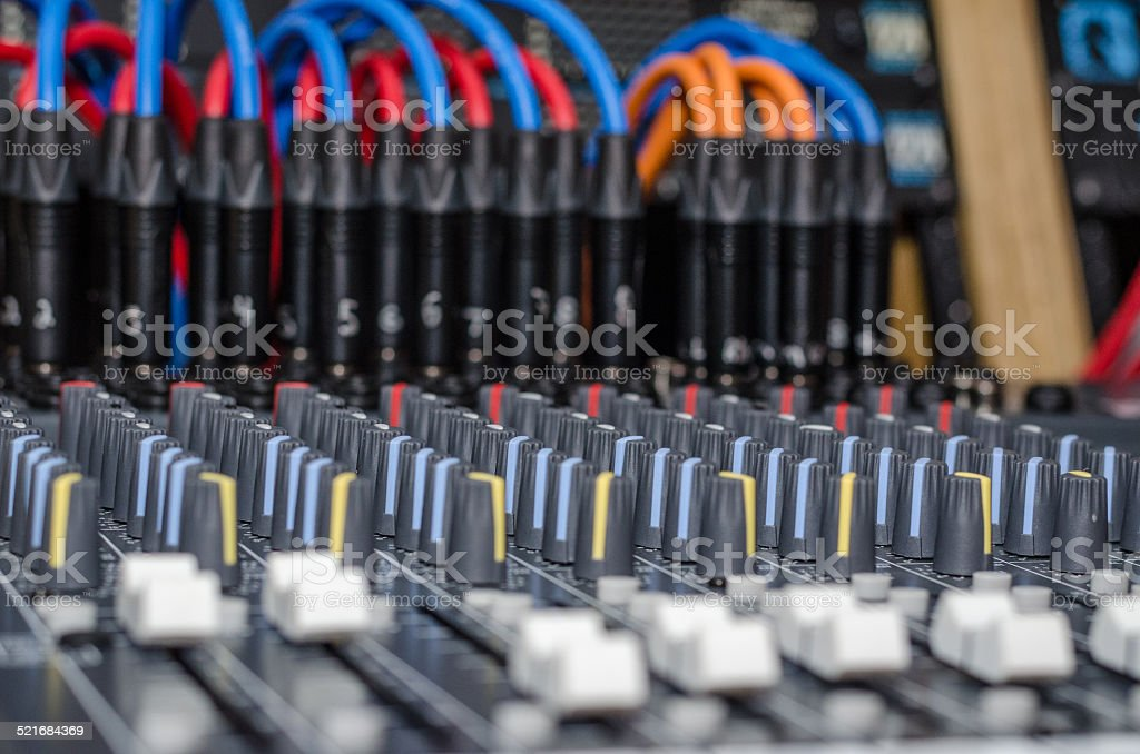 Music studio console with multiple adjustment options stock photo