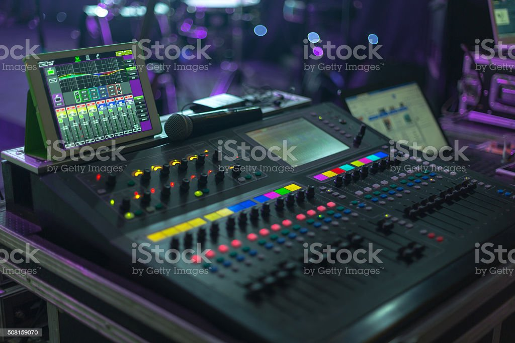 Music system in concert hall stock photo