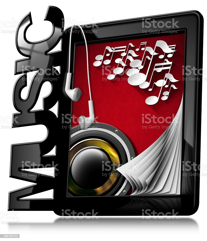 Music - Tablet Pc with Earphones stock photo