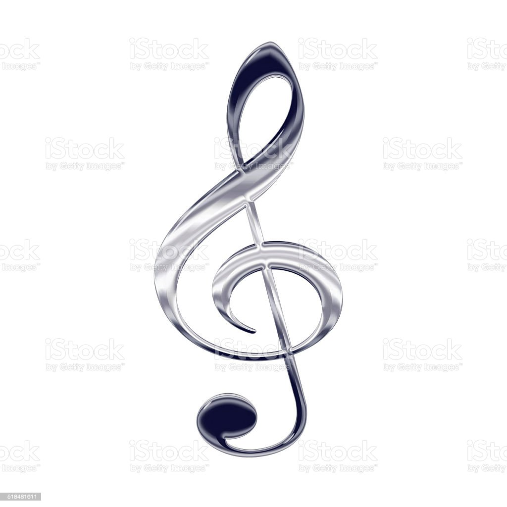Music treble clef silver metal icon stock photo