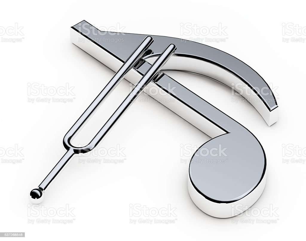 Music Tuning Fork over Note. 3d Rendering stock photo