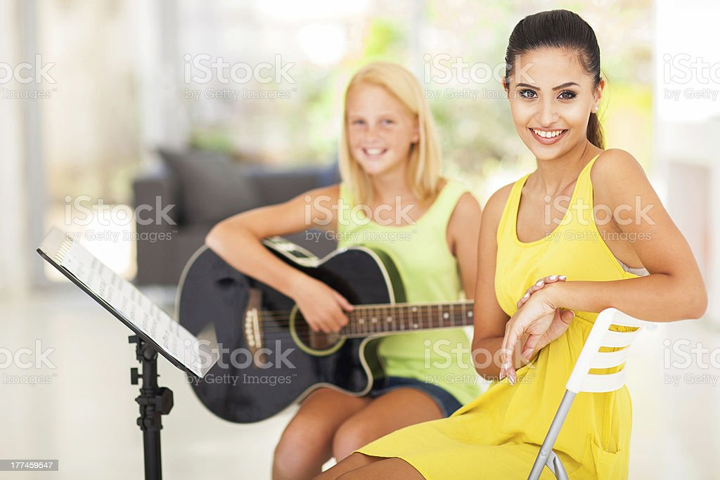 music tutor and student royalty-free stock photo