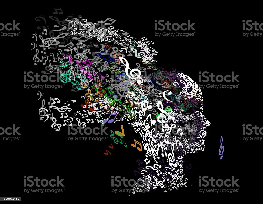 Music woman, musical head and hair stock photo