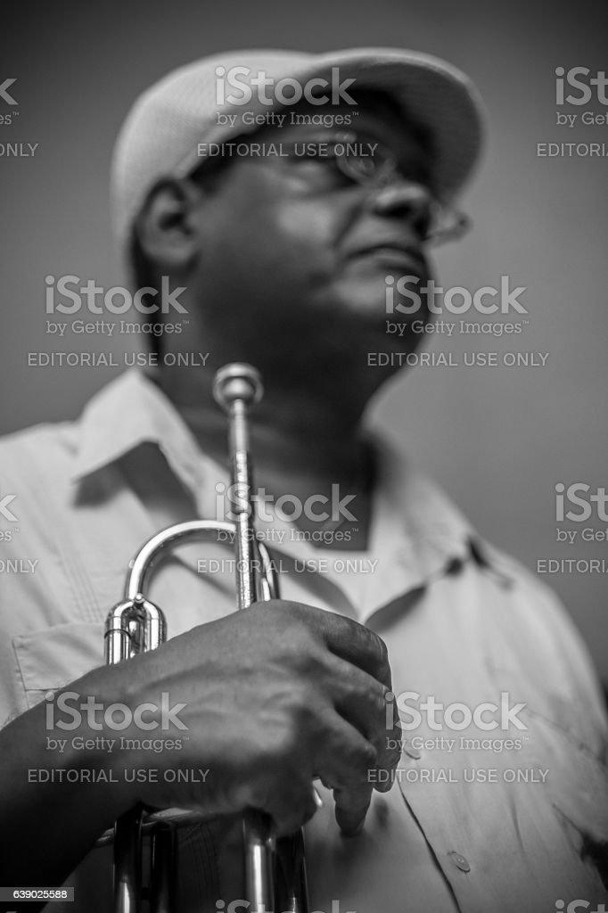 Musica Cubana on the street corner stock photo