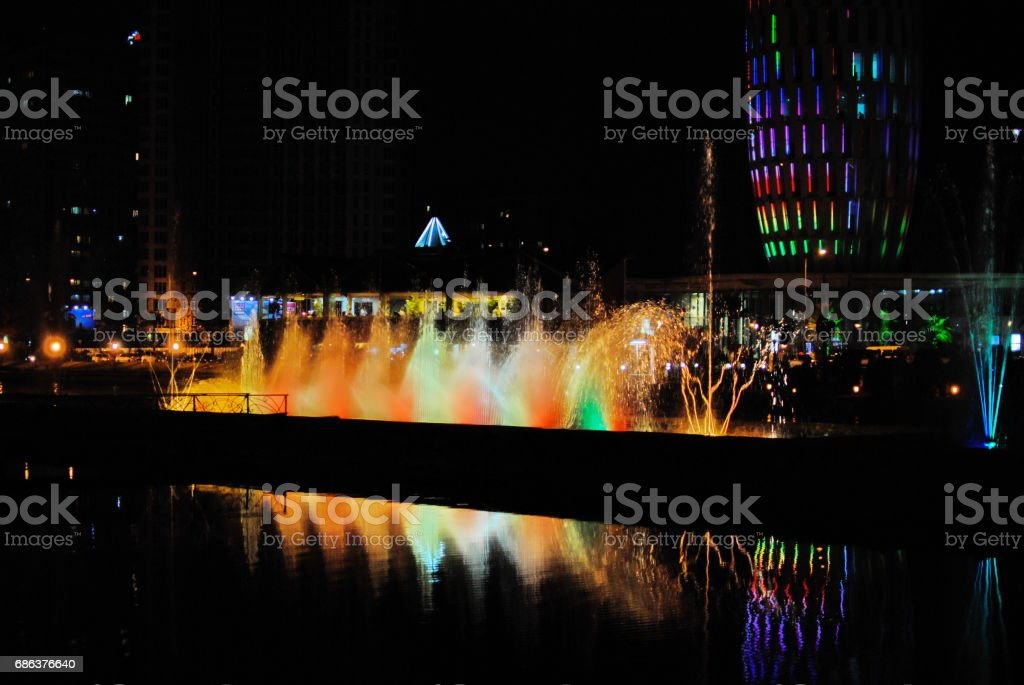 Musical fountain in Batumi, Georgia stock photo