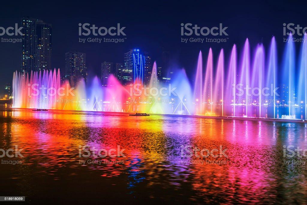 Musical fountain show stock photo