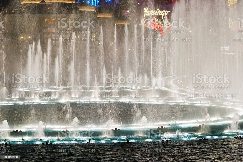Musical fountains at Bellagio Hotel & Casino stock photo