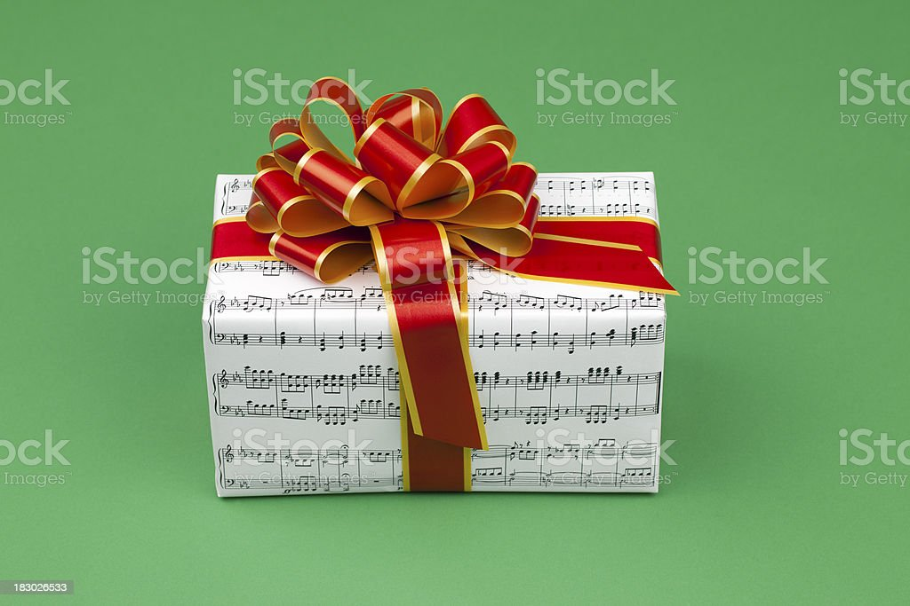 Musical Gift on Green royalty-free stock photo