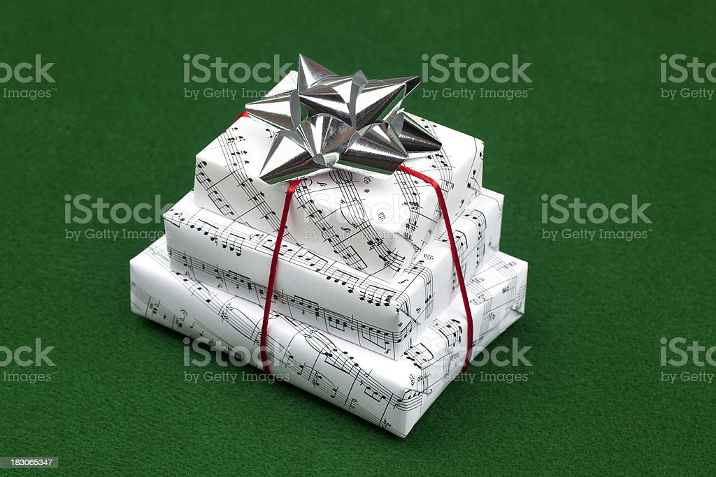 Musical Gifts on Green royalty-free stock photo