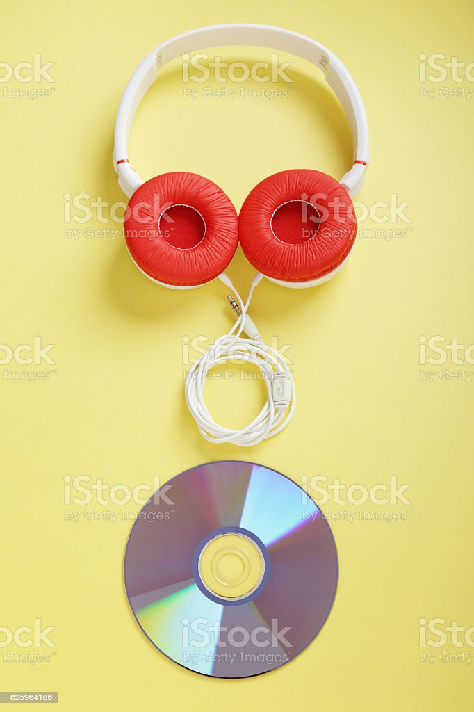 Musical headphones and dvd stock photo