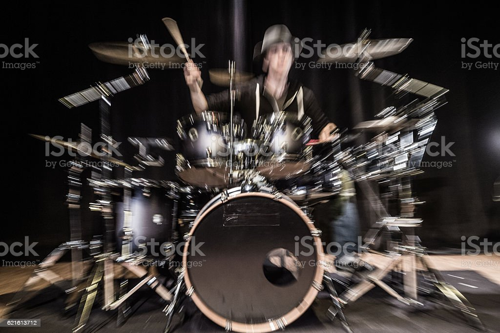 Musical instrument, Drum Kit on the stage stock photo