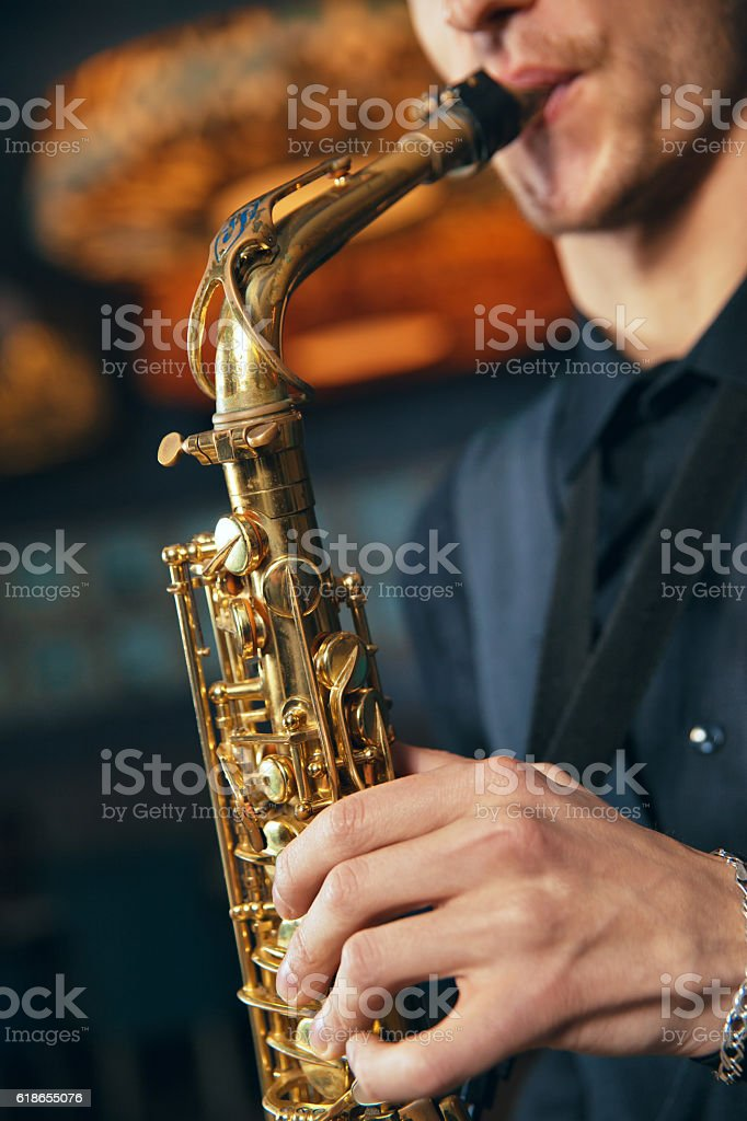Musical instrument sax close-up stock photo