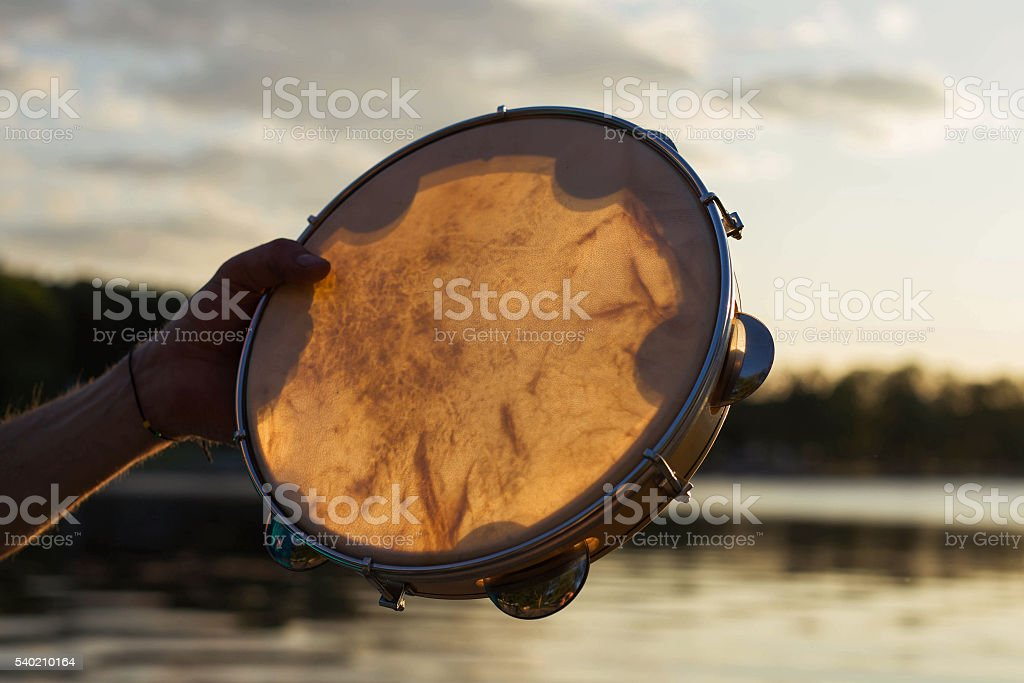 Musical instrument tambourine or pandeiro stock photo