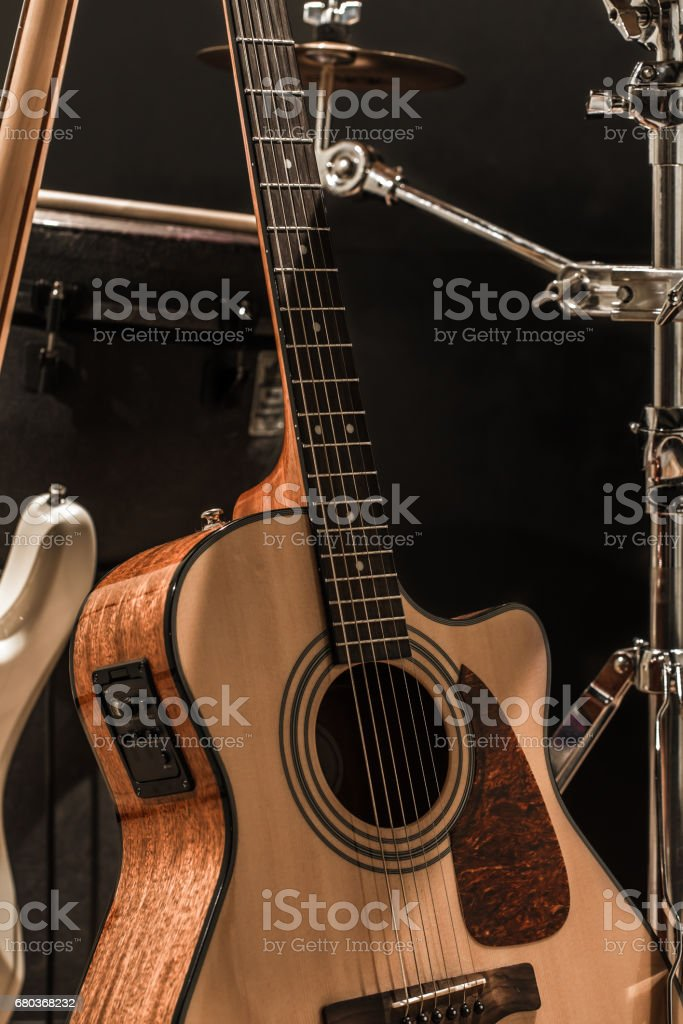 musical instruments, acoustic guitar and bass guitar and percuss stock photo