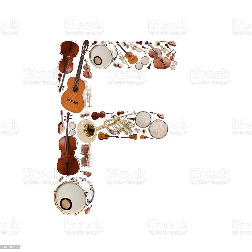 Musical instruments alphabet royalty-free stock photo