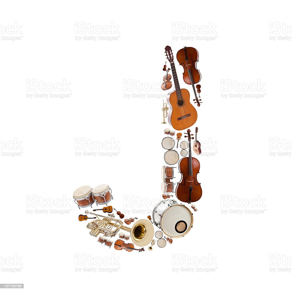 Musical instruments alphabet royalty-free stock photo
