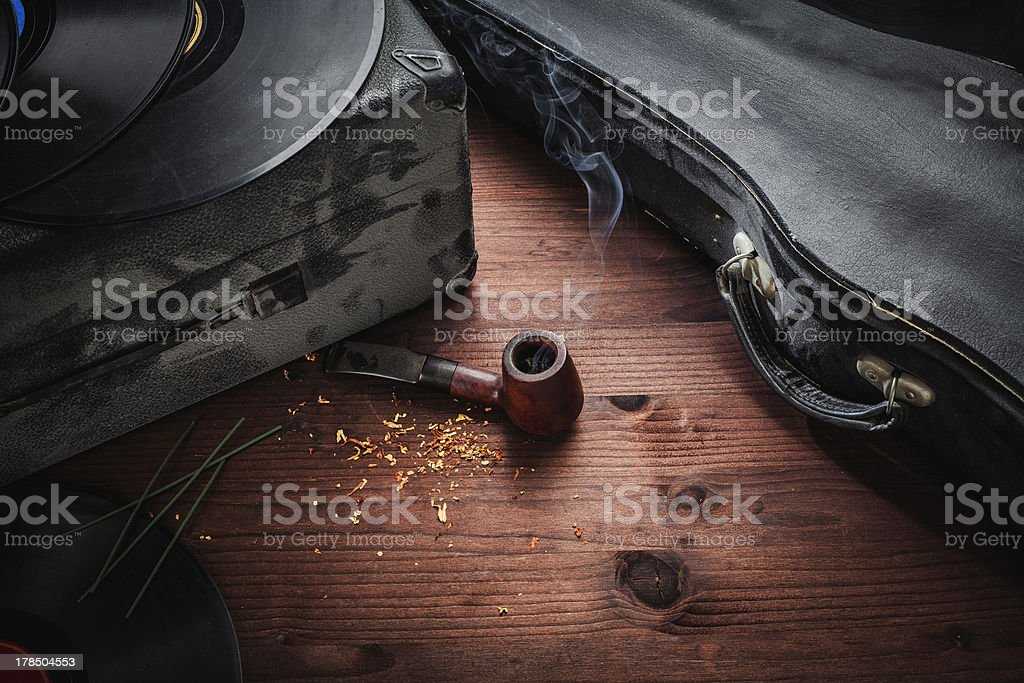 musical instruments and old objects stock photo