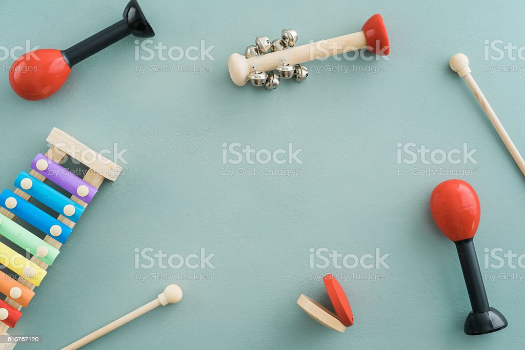 Musical instruments collection stock photo