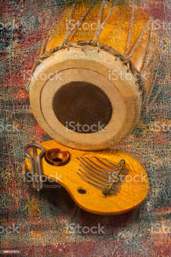 Musical instruments ethnic stock photo