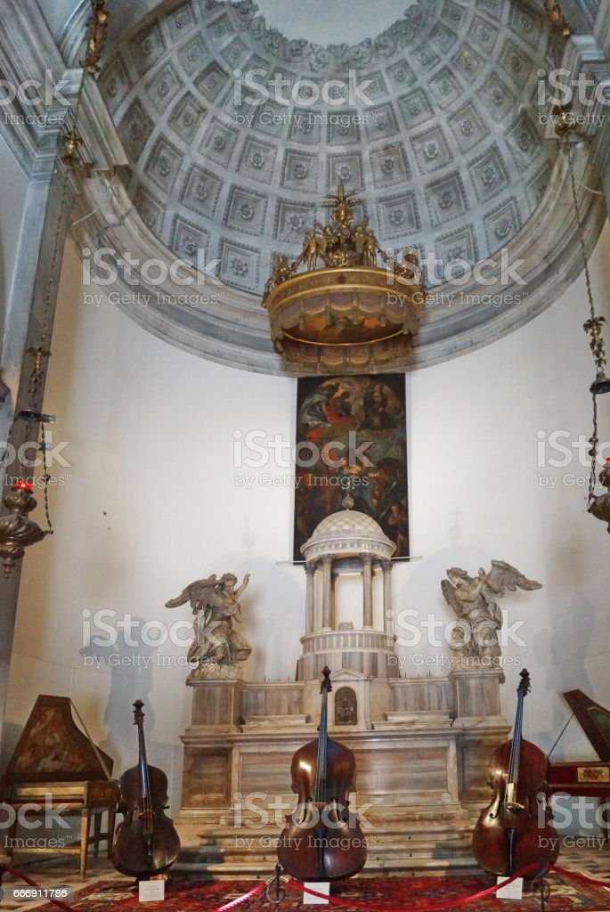 Musical instruments in a former church; Venice stock photo