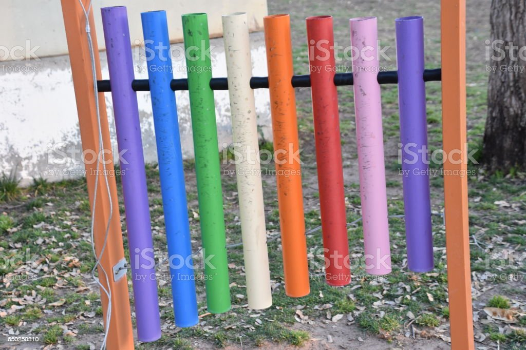 Musical Instruments in the garden - xylophone stock photo