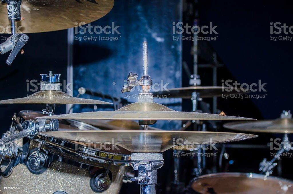 musical instruments on the stage stock photo