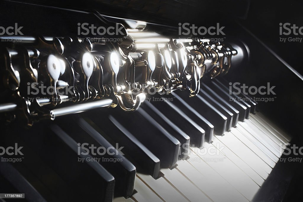 Musical instruments piano and oboe stock photo