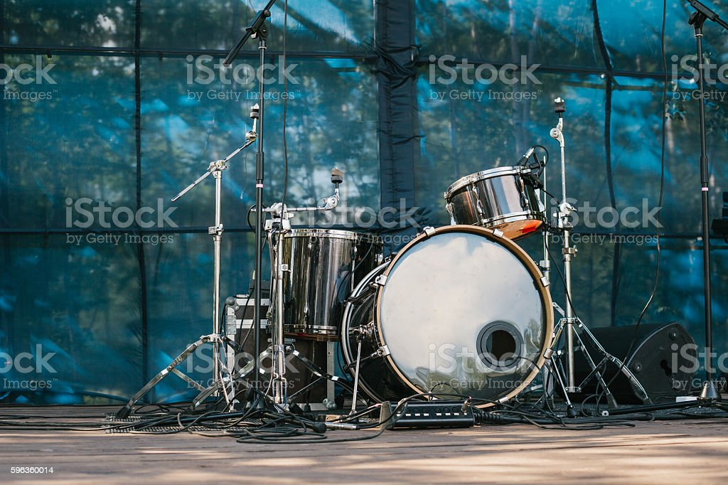 Musical instruments. Scene. Entertainment and outdoor concerts. stock photo