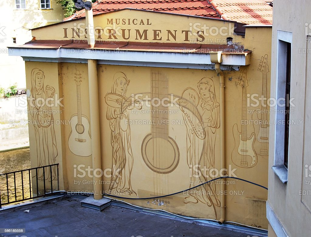 Musical Instruments sign, Prague. stock photo
