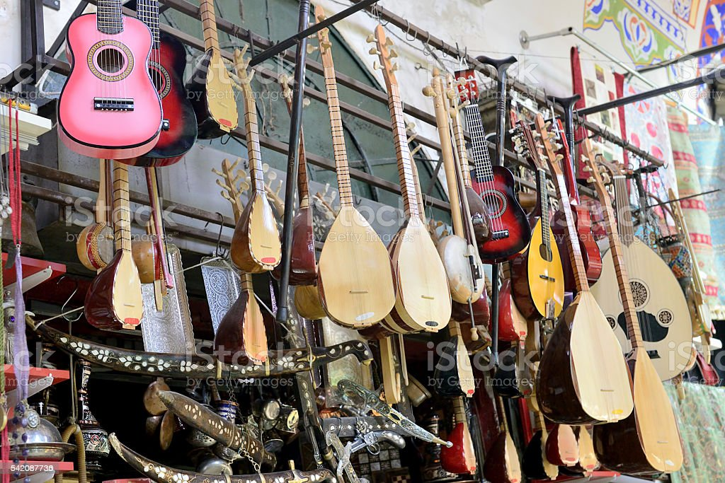 Musical insturement store at Grand Bazaar stock photo