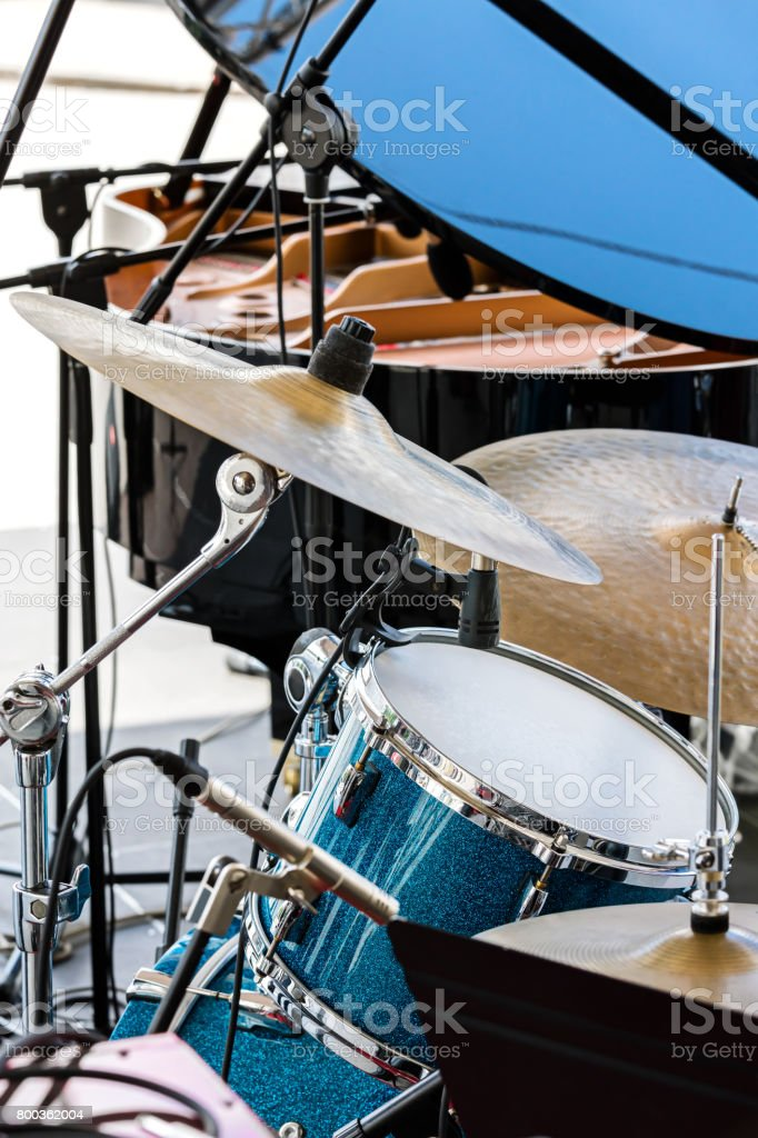 musical kit of drums with cymbals ready for performance stock photo