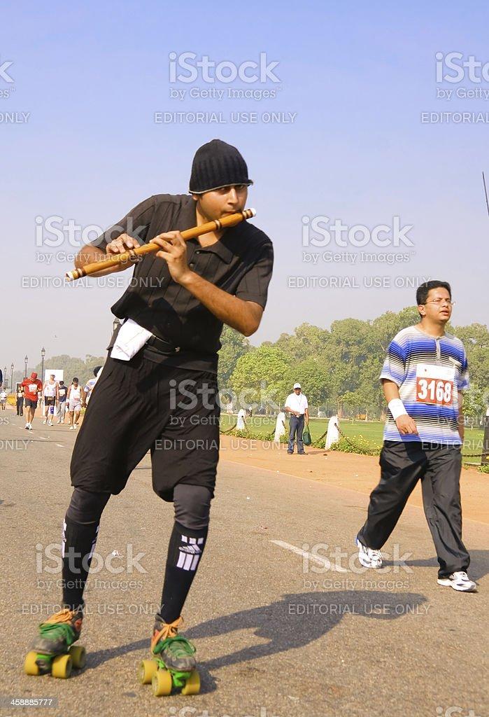 Musical marathon participant royalty-free stock photo