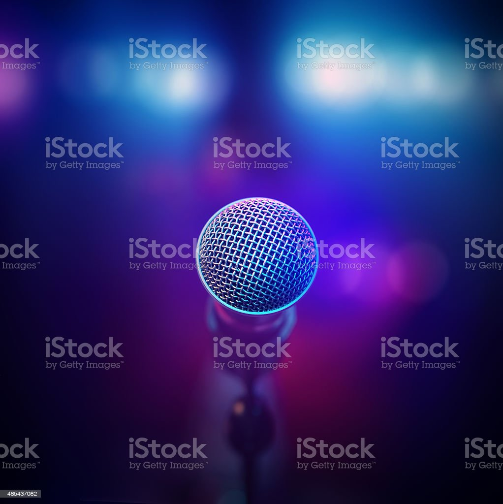 Musical Microphone on stage stock photo