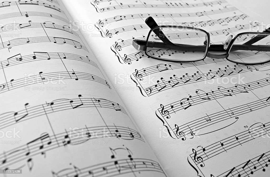musical note and glasses royalty-free stock photo