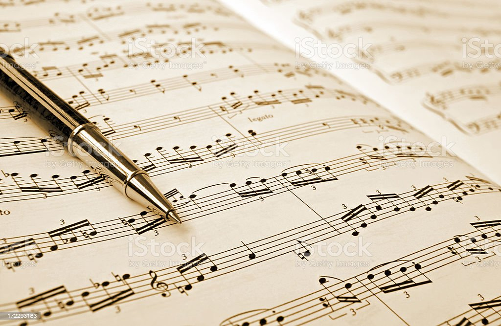 musical note and pen royalty-free stock photo
