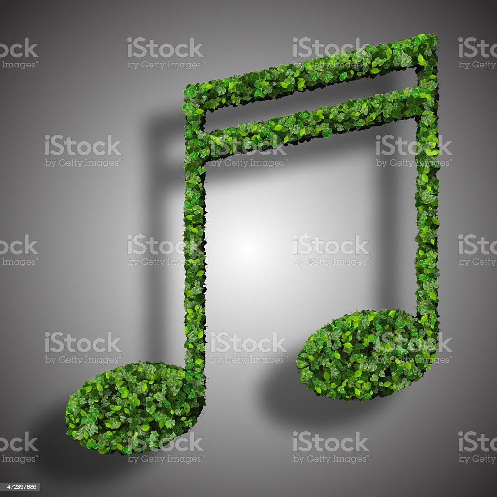 Musical note double semiquaver symbol made from green leaves stock photo