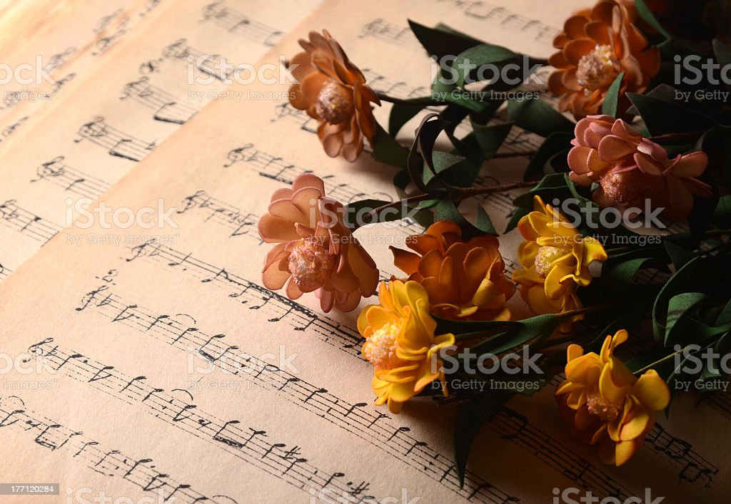 musical notes and flowers royalty-free stock photo