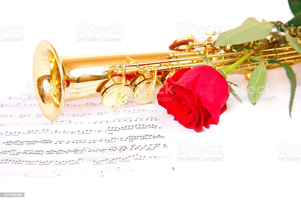 Musical notes and saxophone stock photo