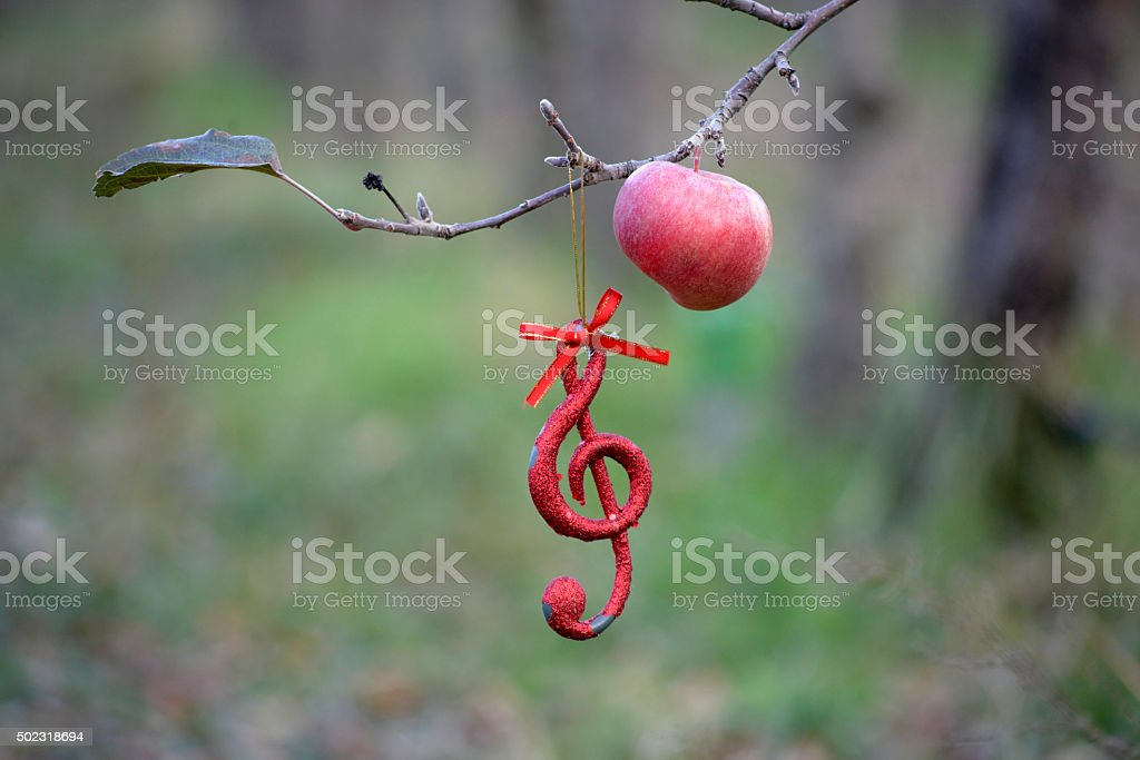Musical notes  in apple orchard stock photo