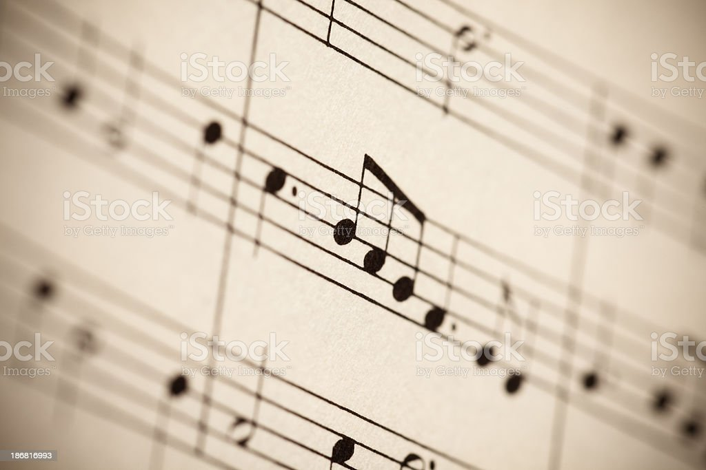 Musical notes in sepia royalty-free stock photo