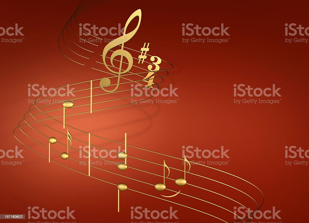 Musical notes on red royalty-free stock photo
