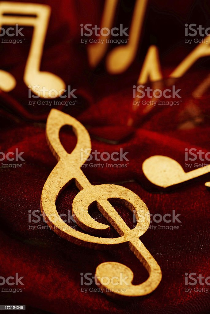 Musical Notes on the  Red Velvet royalty-free stock photo